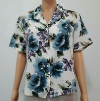 Alfred Dunner Women's Floral Short Sleeve Button Down Blouse Size 14P