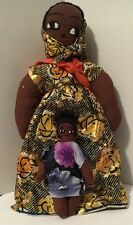 """Vintage Handmade African Cloth Doll with Child on back Handmade Clothing 15"""""""