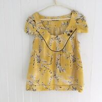 Leifsdottir Anthropologie Yellow Short Sleeve Cold Shoulder Silk Blouse Sz 2