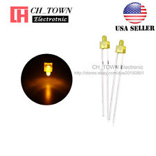 100pcs 2mm Diffused LED Diodes Yellow Color Yellow Light DIP Round Top USA