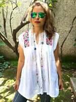Womens White Embroidered Peasant Blouse Vintage Sleeveless Folk Top Plus Size