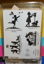 NEW Stampin Up THANKFUL THOUGHTS Silhouette Children Flag Girl Boy Butterfly Net