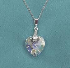 Collar De Plata 925 Con Swarovski Elements AB claro cristal Colgante de corazón