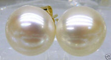 TOP AAA+++ Beads 11-12mm White Akoya Pearl Stud Earring 14K Solid Gold