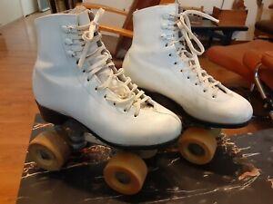 VINTAGE SIZE M 2 kids Girls Riedell Red Wing White Roller Skates Hyper Glide