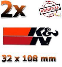 2x K&N Schwarz Black Noir 32x108mm Aufkleber Sticker Autocollant KN K und N