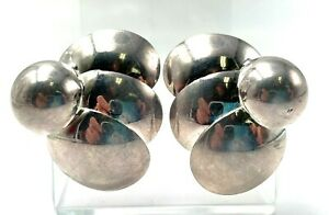 Italy Sterling Silver 925 Chunky Statement Geometric Flower Clip On Earrings