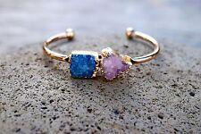 Druzy Bracelet Quartz Drusy Cuff Raw Crystal Bangle Blue Pink Magenta US Seller