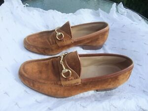 MENS BROWN SUEDE GUCCI SHOES - Horsebit Loafers