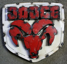 Recycled Tin Metal OVAL DODGE Sign Gas Oil Garage Man Cave Home Decor RAM