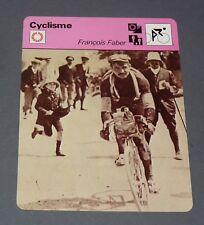 FICHE CYCLISME 1909 FRANCOIS FABER TOUR FRANCE WIELRIJDER CICLISMO