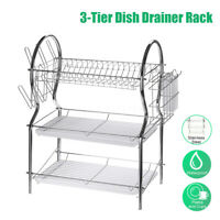 3 Tier Large Capacity Dish Drying Rack Stainless Steel Drainer Kitchen Storage