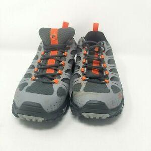 Merrell Men's 10.5 US Moab Edge Hiking Shoes Lace Up Athletic Grey Orange
