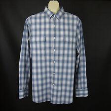 AXIST Large Blue / Gray Plaid Long Sleeve Double Pocket Dress Shirt Slim Fit