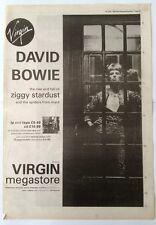 DAVID BOWIE Ziggy Stardust (Virgin) 1990 UK Poster size Press ADVERT 16x12 inch
