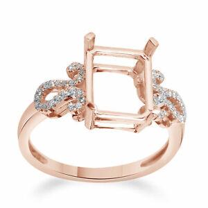 9x7mm Emerald Semi Mount Wedding Ring 0.15 Ct Natural Diamond In 10K Rose Gold