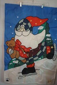 "Boyds Bears ""Santa Quick As A Flash"" Christmas Porch Yard Flag ~ 28""x40"""