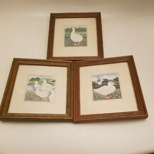 Set of 3 Framed Prints by Sharon Jarvis folk Art Style Ducks (A9)