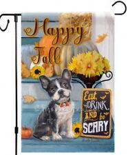 Frenchie dog painting garden flag Fall mini bulldog art Outdoor decor Yard Patio