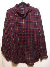 Hathaway Sport Tartan Shirt XXL Red Imperial Twill Combed Cotton LS