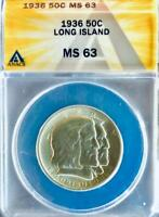 1936 Long Island Silver Commemorative Half Dollar - ANACS MS-63 - Mint State 63