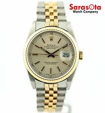 Rolex Datejust 16233 Silver Dial Two Tone 18K Gold/Steel Automatic Men's Watch
