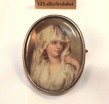 Biedermeier Porzellan Brosche Silber Porzellanplatte old brooch / AO 754