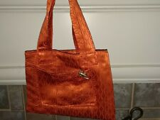 Orange clothes Obi bag hand made from  00004000 Belt of Japanese kimono. Frog pin too.