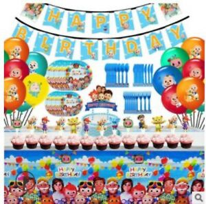 Cocomelon Birthday Party Decorations Supplies Kit for 10 Guests 145pcs