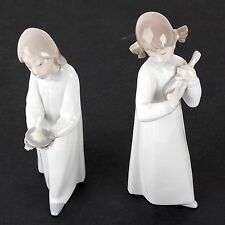 "2 Vintage 8"" Lladro Figurines - Girl With Candle, Girl Playing The Mandolin"