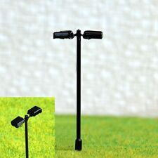 S208 - 10 Stück Straßenlampen mit LED 2-flammig 5,5cm Set Bahnsteigleuchten