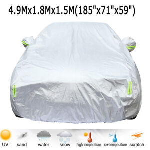 6 Layer Full Car Cover Waterproof Auto Protection Rain Snow Resistant Fits Sedan