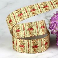 "7/8"" Grosgrain Ribbon Vintage Rose Print Floral DIY Garment Accessories Wedding"