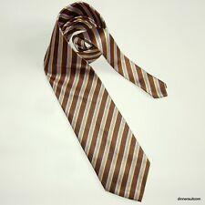 vintage PAUL SMITH Silk Tie Long Necktie Brown stripe Pink Yellow 10cm SUPERB