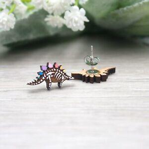 Rainbow Stegosaurus Skeleton Earrings - Hand Painted Dinosaur Studs