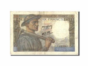 [#210626] Billet, France, 10 Francs, 10 F 1941-1949 ''Mineur'', 1944, 1944-01-13