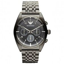 BRAND NEW EMPORIO ARMANI BLACK DIAL CHRONOGRAPH STAINLESS STEEL MEN WATCH AR0374