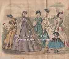 Civil War Fashion-Bonnets-Victorian Ladies Dress-1866 ANTIQUE VINTAGE ART PRINT