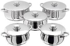 Stellar 1000 5 Piece Casserole Set - Stainless Steel Suitable for Aga Rayburn