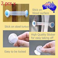 Child Adhesive Kid Baby Safety Drawer Door Lock Cupboard Cabinet Belt White x 2