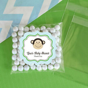 24 Blue Monkey Personalized Clear Candy Bags Baby Shower Birthday Party Favors