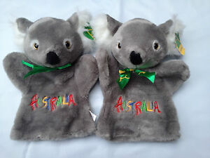 4 Koala Puppets with Embroidery Australian Souvenirs Hand Puppets NEW BIG 25CM