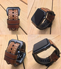 Brown Leather Watch Strap Band for Apple Watch Series 1 & 2 42mm Black Fixings