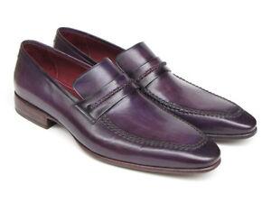 Paul Parkman Men's Purple Loafers Handmade Slip-On Shoes (ID#068-PURP)