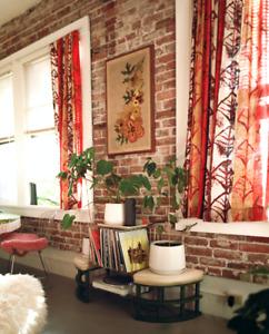 Vintage Pair 60s Mid-Century Modern Tiki retro curtains fabric panel barkcloth
