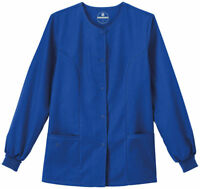 Fundamentals Women's Snap Front Closure Warm Up Solid Scrub Jacket . 14740
