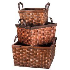 Home Decor Deep Rectangular Storage Wicker Baskets Empty Hamper Trays Set  Of 3