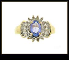 & Diamond Fashion Ring 10K Solid Yellow Gold Iolite