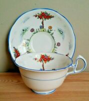 Vintage White Flowers & Trees Tea Cup and Saucer Set - Royal Stafford England
