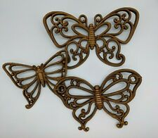 GROUP OF 3 BROWN SYROCO BUTTERFLY WALL PLAQUES #7537 USA Homco Home Interior